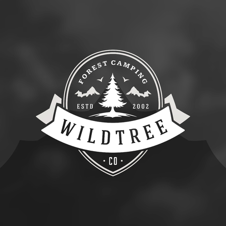 Forest camping logo emblem vector illustration. Outdoor adventure leisure, Pine trees silhouettes shirt, print stamp. Vintage typography badge design.