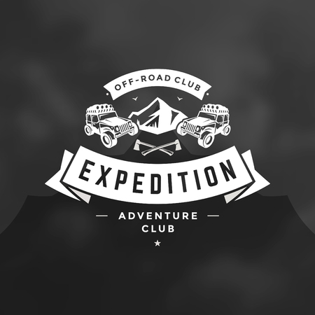 Off road cars logo emblem vector illustration. Outdoor extreme adventure expedition, safari suv silhouette shirt, print stamp. Vintage typography badge design. Illustration