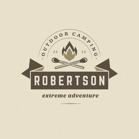 Forest camping logo emblem vector illustration. Outdoor adventure leisure, Campfire silhouette, print stamp. Vintage typography badge design.