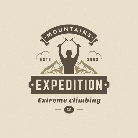 Climber logo emblem vector illustration. Outdoor adventure expedition, mountaineer man silhouette shirt, print stamp. Vintage typography badge design.