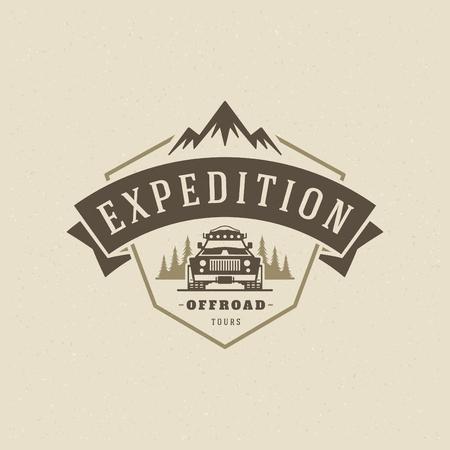 Off road cars logo emblem vector illustration. Outdoor extreme adventure expedition, safari suv silhouette shirt, print stamp. Vintage typography badge design.