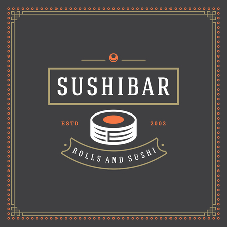 Sushi restaurant logo vector illustration. Japanese food, roll silhouette. Vintage typography badge design.