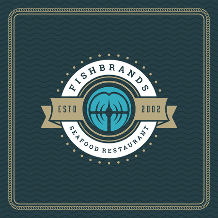 Seafood restaurant logo vector illustration. Market emblem, fish fillet silhouette. Vintage typography badge design.