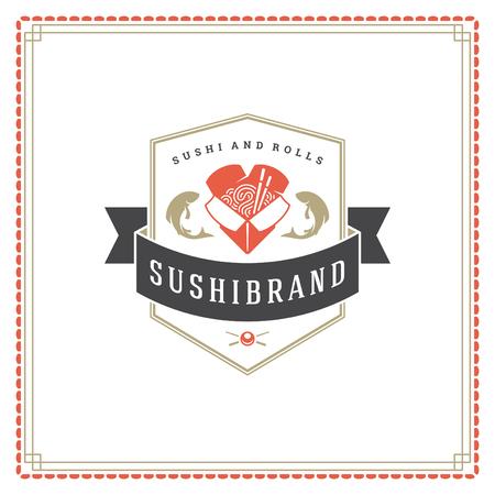 Sushi restaurant logo vector illustration. Japanese food, ramen noodle silhouette. Vintage typography badge design.