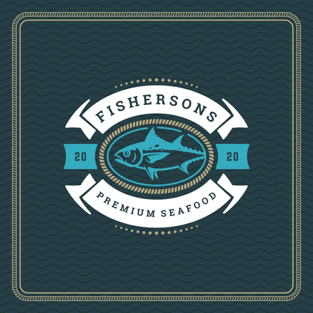 Seafood restaurant logo vector illustration. Market emblem, fish silhouette. Vintage typography badge design.