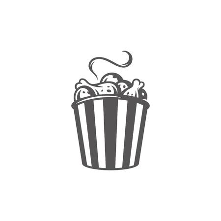 Icona del cestino di cosce di pollo isolato su priorità bassa bianca.