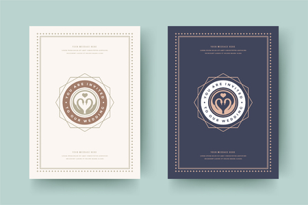 Wedding invitations save the date cards design vector illustration.