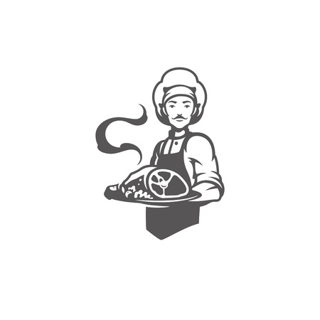 Chef man holding meat dish silhouette vector illustration.