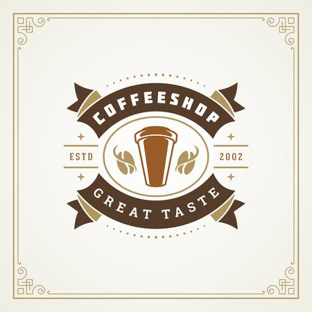 Coffee shop label design template vector illustration.