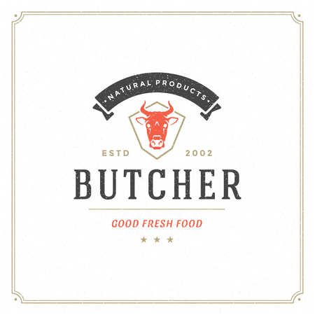 Butcher shop logo vector illustration. Cow head silhouette, good for farm or restaurant badge. Vintage typography emblem design.