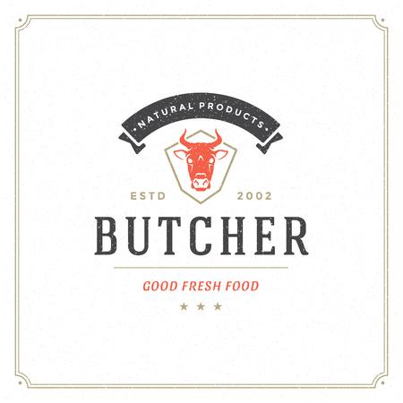 Ilustración de vector de logo de carnicería. Silueta de cabeza de vaca, buena para insignia de granja o restaurante. Diseño de emblema de tipografía vintage.