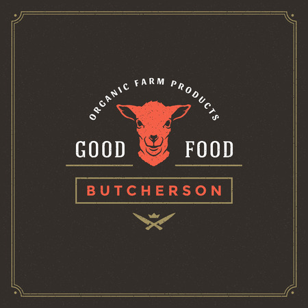 Butcher shop logo vector illustration. Lamb head silhouette, good for farm or restaurant badge. Vintage typography emblem design.