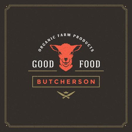Butcher shop logo vector illustration. Lamb head silhouette, good for farm or restaurant badge. Vintage typography emblem design.