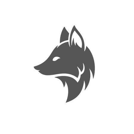 Fox silhouette isolated on white background vector illustration. Fox head vector graphic emblem. 일러스트