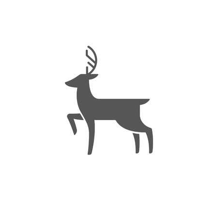 Deer silhouette isolated on white background vector illustration. Standing deer vector graphic emblem.