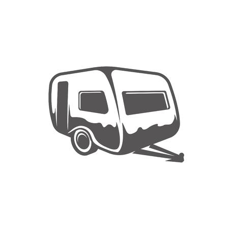 白い背景ベクトルイラストで隔離されたキャンピングカートレーラーの形状。トレーラー車両ベクトルグラフィックシルエット。 ベクターイラストレーション