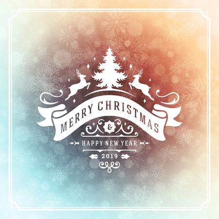 Kerstmis en Nieuwjaar retro typografie labelontwerp en licht met sneeuwvlokken. Feestdagen wensen wenskaartontwerp en vintage ornamentdecoratie. Vector achtergrond.