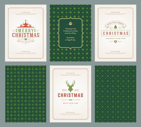 Feliz Navidad tarjetas de felicitación plantillas y patrones de fondos, con lugar para las vacaciones de Navidad desean diseño tipográfico. Ilustración vectorial. Ilustración de vector