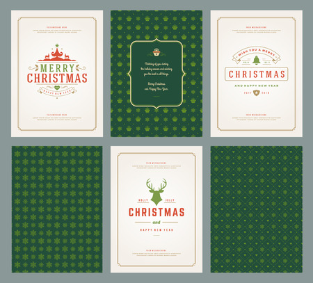 Merry Christmas greeting cards templates and patterns backgrounds, with place for Christmas holidays wish typographic design.Vector illustration. Vetores