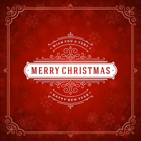 Conception d'étiquettes de typographie rétro Noël et nouvel an et lumière avec des flocons de neige. Les vacances souhaitent la conception de cartes de voeux et la décoration d'ornement vintage. Fond de vecteur. Vecteurs