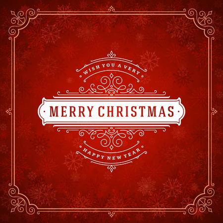 Retro-Typografie-Etikettendesign für Weihnachten und Neujahr und Licht mit Schneeflocken. Feiertage wünschen Grußkartenentwurf und Vintages Verzierungsdekoration. Vektorhintergrund. Vektorgrafik