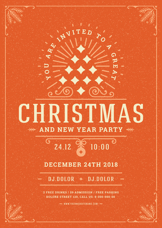 Christmas party poster design retro typography and decoration elements. Christmas holidays event flyer or invitation. Vector illustration.