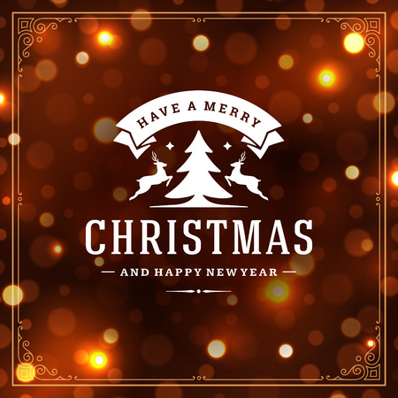 Christmas and new year retro typography label design and light bokeh. Holidays wish greeting card design and vintage ornament decoration. Vector background.