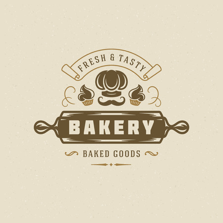 Bakery badge or label retro vector illustration. Cupcakes and chef hat silhouettes for bakehouse. Typographic logo design.