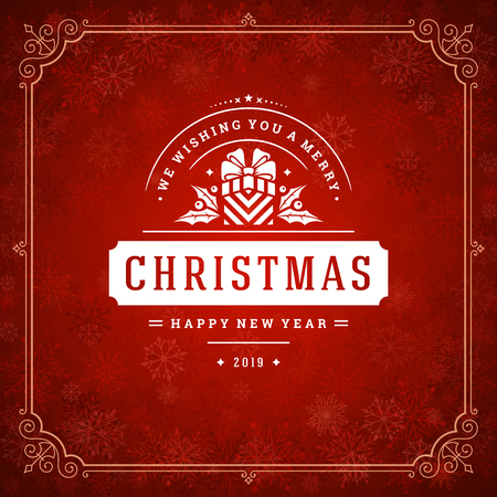 Christmas and new year retro typography label design and light with snowflakes. Holidays wish greeting card design and vintage ornament decoration. Vector background.