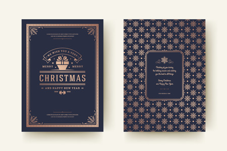 Christmas greeting card design template. Merry Christmas and holidays wishes retro typographic label and place for text with pattern background. Vector illustration.