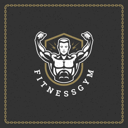 Fitness gym badge or emblem vector illustration. Bodybuilder man silhouette for t-shirt or print stamp. Retro typography logo design. Vettoriali