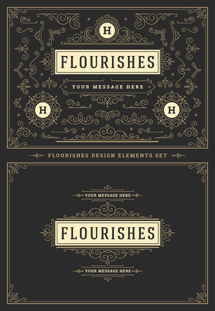 Vintage ornaments swirls and scrolls decorations design elements. Flourishes calligraphic combinations for retro logos, greeting cards, royal crests, frames and Invitations.