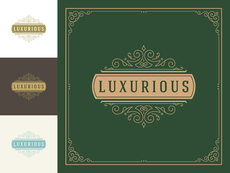 Luxury logo template vector vintage flourishes ornaments.