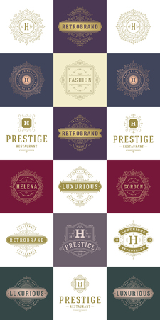 Luxury logos templates set, flourishes calligraphic elegant ornament lines.