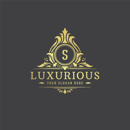 Illustration vectorielle de luxe logo monogramme crête modèle design.