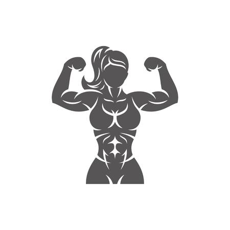 Kulturysta sylwetka kobiety na białym tle na białe tło wektor ilustracja. Ilustracja wektorowa grafiki siłowni fitness.