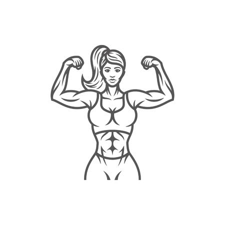Siluetta femminile del culturista isolata sull'illustrazione bianca di vettore del fondo. Illustrazione grafica vettoriale palestra fitness.