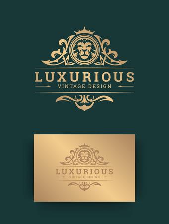 Design del modello di logo di lusso con illustrazione vettoriale di leone.