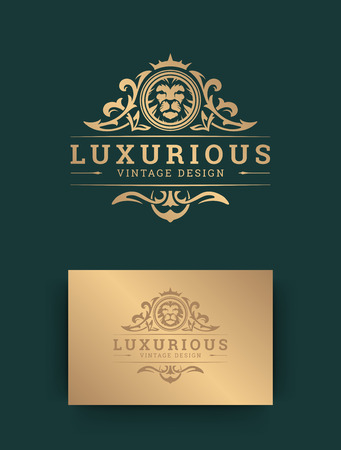 Luxury logo template design with lion vector illustration.