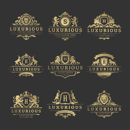 Luxury logos monograms crest design templates set vector illustration.