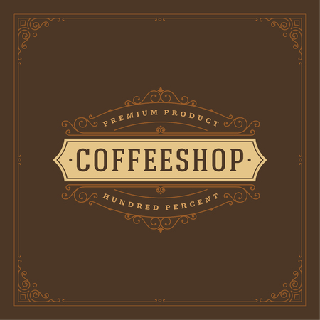 Coffee shop logo design template vector illustration. Ornament decoration, good for cafeteria signage and cafe badge. Retro typography emblem.