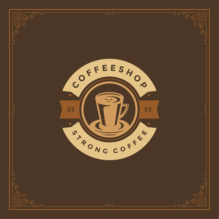 Coffee shop logo design template vector illustration. Cup silhouette, good for cafeteria signage and cafe badge. Retro typography emblem. 矢量图像