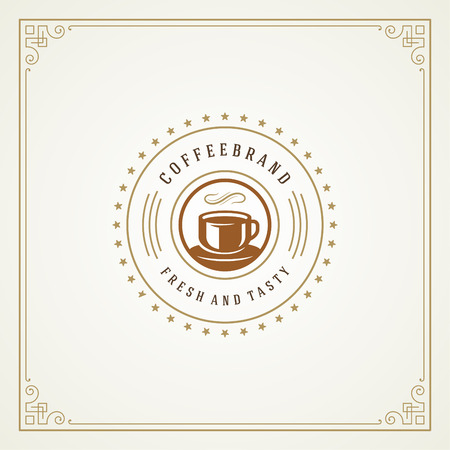 Coffee shop logo design template vector illustration. Cup silhouette, good for cafeteria signage and cafe badge. Retro typography emblem. Ilustracja