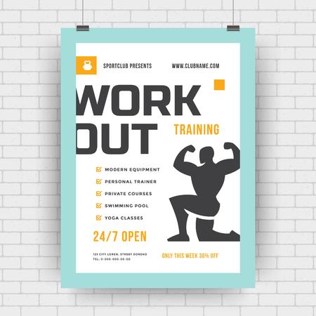 Fitness-Center-Flyer modernes typografisches Layout, Event-Cover-Design-Vorlage im A4-Format mit Bodybuilder-Mann-Silhouette. Vektor-Illustration. Vektorgrafik