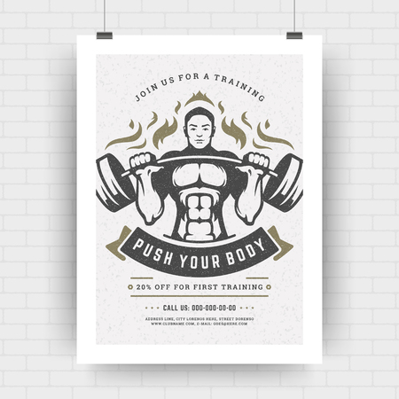 Fitness center flyer retro typographic layout, event cover design template A4 size with bodybuilder man with dumbbells silhouette. Vector Illustration.
