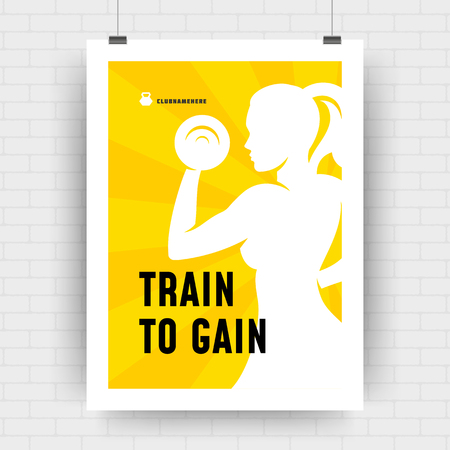 Fitness motivation poster retro typographic quote design template A4 size with bodybuilder woman silhouette. Train to gain message, vector Illustration. Ilustração