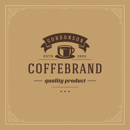 Coffee shop logo design template vector illustration. Cup silhouette, good for cafeteria signage and cafe badge. Retro typography emblem. Vectores