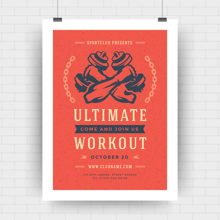 Fitness center flyer modern typographic layout, event cover design template A4 size with bodybuilder man hands holding dumbbells silhouette. Vector Illustration.