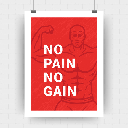 Fitness motivation poster retro typographic quote design template A4 size with bodybuilder man silhouette. No pain no gain message, vector Illustration. Illustration