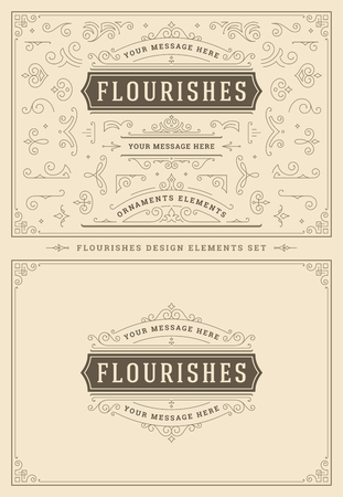 Adornos vintage remolinos y pergaminos elementos de diseño de decoraciones. Florece combinaciones caligráficas para logotipos retro, tarjetas de felicitación, escudos reales, marcos e invitaciones.